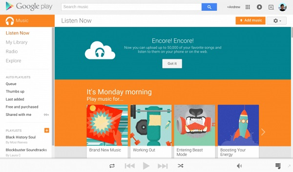 Upload Spotify Music to Google Play Music