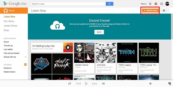upload Apple Music files to Chromebook's google play