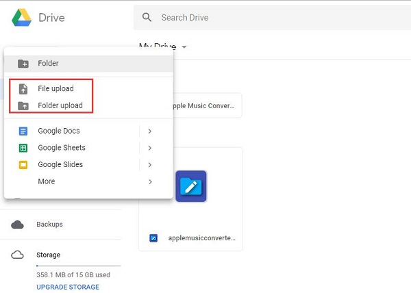 Upload converted Apple Music to Google Drive