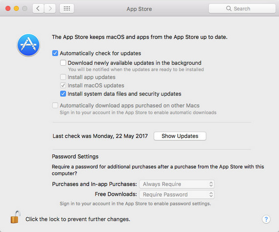 Uncheck App updates on Mac