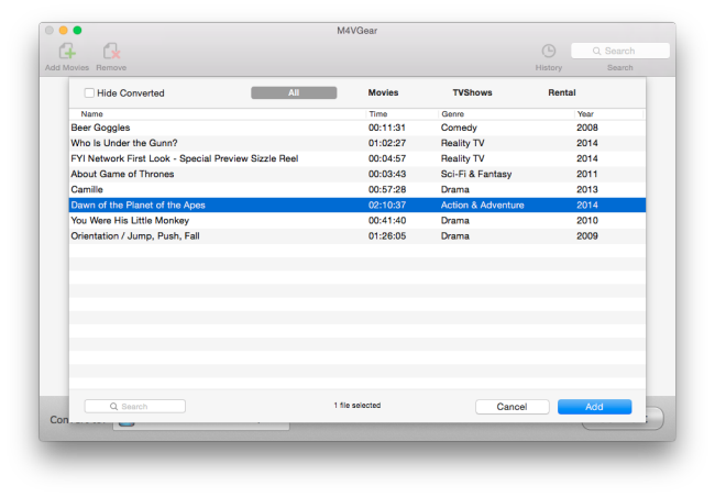 add itunes videos for converting