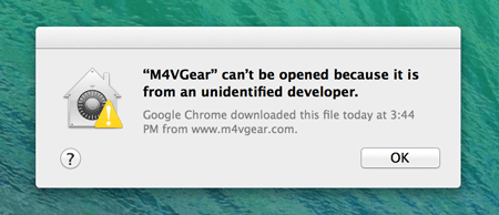 m4vgear can't be opened because it is from an unidentified developer