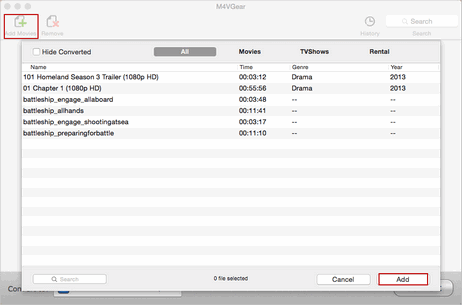 add itunes m4v media files