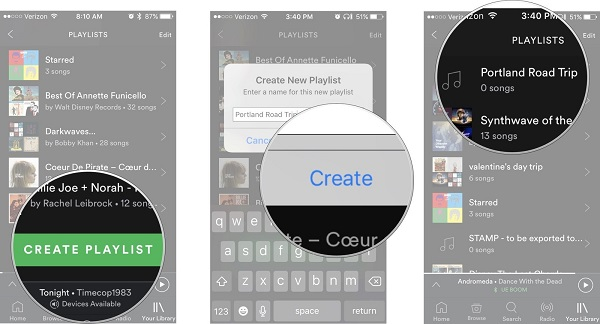 Create a new Spotify playlist on your iPhone
